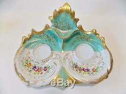 Antique Paris Style De Porcelaine Turquoise Double Encrier Fleurs Peint À La Main