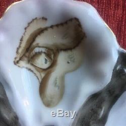 Antique Peint À La Main Assiette En Porcelaine De Limoges Française Oyster Exe