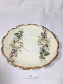 Antique Peint À La Main B & H France Chocolatière & 2 Cups Avec Rose / Roses Jaunes