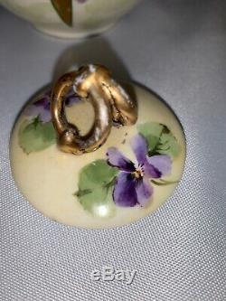 Antique Peint À La Main Limoges France Juillet H. Brauer Pourpre Floral Creamer Sucre