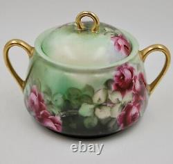 Antique Peint À La Main Limoges Roses Biscuit Ou Cookie Jar