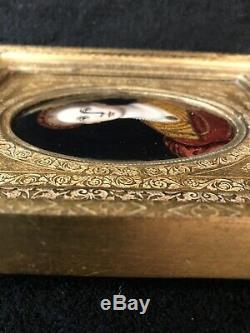 Antique Peint Français Limoges Main Miniature Plaque Émaillée Withwooden Cadre-312e