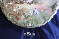 Antique Peinte À La Main Bas Signé 2 Quail Limoges France Plate Cabinet, Porcelaine