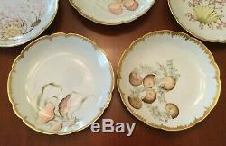 Antique Peints À La Main Haviland Limoges Festonnée Shellfish Plaques Ensemble De 8