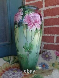 Antique Pl Limoges France Peint À La Main Mamans Florales Porcelaine Grand Vase