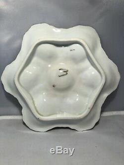 Antique Plaque Oyster Majolique 1800 Marquée 765 Peintes À La Main