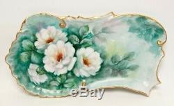 Antique Porcelaine De Limoges Dresser Vanity Plateau Peint À La Main Fleurs Incrustées Gol