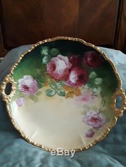 Antique Porcelaine De Limoges Peinte À La Main Florale Platter Rose Roses Bordure Dorée