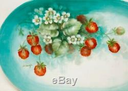 Antique Porcelaine De Limoges Peinte À La Main Platter Artiste Fraises Sauvages Signée