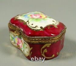 Antique Porcelaine Française Peinte À La Main Limoges Boîte Àrinket Bijoux Laiton Laiton