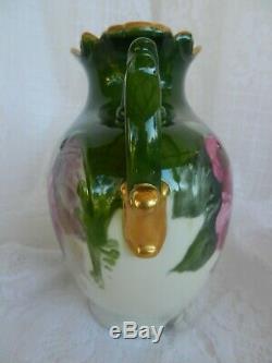 Antique Porcelaine Limoges Handled Vase Peint À La Main Hugh Roses Pouyat