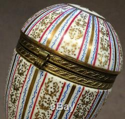Antique Porcelaine Main D'or Limoges Peint Couvercle À Charnière En Forme D'oeuf Trinket Box
