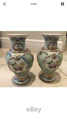 Antique Sevres Limoges 8 Or Parée Paire Magnifique Porcelaine Florale Urnes