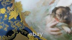 Antique Signé Soustre Haviland Limoges Peint À La Main Cobalt Gold Cabinet Plate