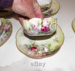 Antique Soucoupes De Roses Peintes À La Main Haviland Limoges Avec Bols De Baies Ensemble De 7