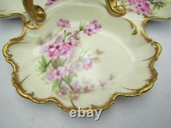 Antique T & V Limoges Cerise Peinte À La Main Blossom 3 Section Porcelaine Poignée Dish
