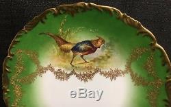 Antique T & V Limoges Ensemble De 12 Cabinet Jeu D'oiseaux Plaques 9 1/2 Peint À La Main