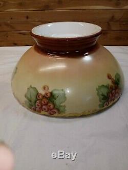 Antique T & V Limoges Grand Punch Bowl Raisin Peint À La Main 14 W France