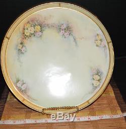 Antique T & V Limoges Peinte À La Main Floral Design Artiste Platter Signé 11 1/4