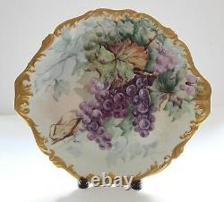 Antique T & V Limoges Tresseman & Vogt Chargeur Peint À La Main, Bordure D'or, Raisins