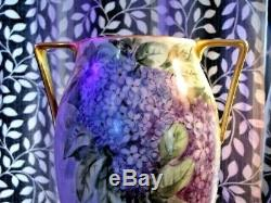 Antique T & V Limoges Vase Deux Poignée Lilas Fleurs Decores Violet 1907-1919