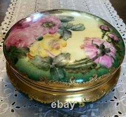 Antique T & V Porcelaine De Limoges Bonbons Plat Bol À Main Couvercle Pré-1907 Painted