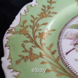 Antique T&v Limoges France Peinture À La Main Orhids Plaque Signée Par L'artiste Rare #3