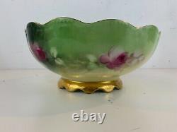 Antique T&v Limoges Porcelaine Peinte À La Main Pickard Bowl Avec Décorations Florales