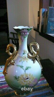 Antique T&v Limoges Tressemann & Vogt Vase Peint À La Main 12 1/4 France