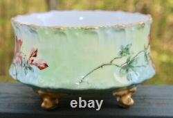 Antique Tv Tressemann Et Vogt Limoges Hand Paint Florals Cache Pot Pied