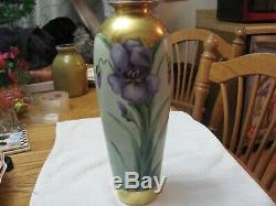 Antique Unsigned Limoges Art Nouveau Peint À La Main Iris Grand Vase Or Accents