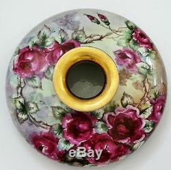 Antique Vienne Autriche Main 12,5 Painted Roses Squat Vase