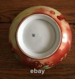 Antique Vintage Grand 10 Limoges Servant Punch Bowl Cherry Gold Hand Peint