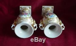 Antique Vintage Porcelaine De Limoges Double Handled Piédestal Urne Vases Peints À La Main
