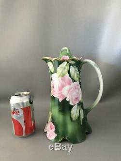 Antique Vtg Rosenthal Peint À La Main Rose Roses Porcelaine Café Chocolat Pot