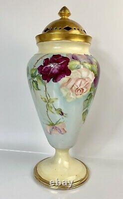 Antique W. Guerin Limoges France Potpourri Lidded Vase Peint À La Main 15