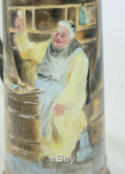 Antique Wm Guerin W G & Co Limoges France Tankard Peint À La Main Friar Bière 14,5