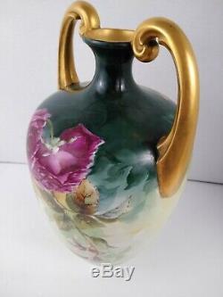Antique (j. P. L.) Vase Peint À La Main De Limoges France 13 Belles Fleurs Florales