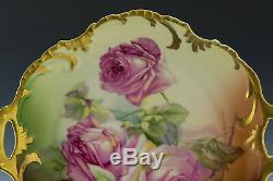 Antiques Bavaria Assiette À Gâteau Roses Peintes À La Main