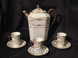 Antiquité Avance Limoges Chocolat Set / Café Set Peint À La Main Roses & Gold