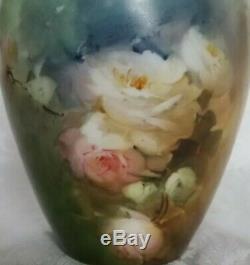 Antiquité D & C Limoges France Vase De Roses Peintes À La Main Jolies Roses Tout Autour De 8