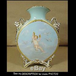 Antiquité Epoque Limoges Époque Peint À La Main Oreiller Vase Cupidon Décoration
