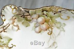 Antiquité Jean Pouyat Commode Coiffeuse De Commode Peinte Florale Limoges Aux Raisins