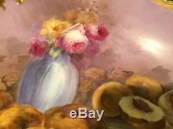 Antiquité L. L. L. Limoges Peint À La Main 15 1/2 Chargeur Roses Pêches Artiste Signé