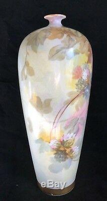 Antiquité Limoges France W Guerin & Co Grand Vase À 14 Armoires Floral Peint À La Main