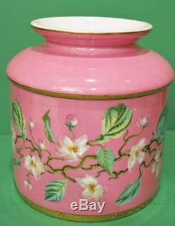 Antiquité Limoges HP Jardinière En Cornouiller À Fleurs Rose Peinte À La Main