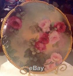 Antiquité Limoges T & V (tressemann & Vogt) Chargeur Assiette Roses Peintes À La Main 12
