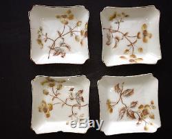 Antiquité Peint À La Main De Chine Haviland Limoges 4 Réglages De 6 Pièces Or Cfh1001