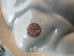 Antiquité Plat En Croissant D'huître Peint À La Main En Porcelaine Française De Limoges, 5 Puits, Doré