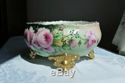 Antiquité Porcelaine De Limoges Jardiniere Ferner Jardinière Vase Roses Peint À La Main Doré